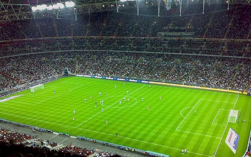 Fotboll på Wembley mellan England och Tyskland